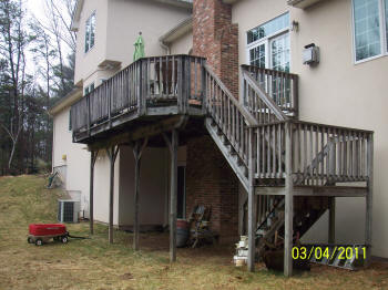 all ipe tall deck with ipe folded stairs before
