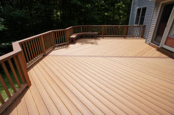 beautiful golden oak compoisite evergrain deck after