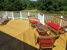 ct deck specialists custom PT treated decking herringbone floor pattern white vinyl rails small