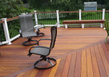 custom ipe ironmwood deck builder deckorator black aluminum spindles vinyl rail posts