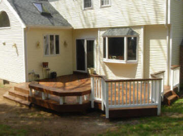 ipe deck with fan stairs and hot tub