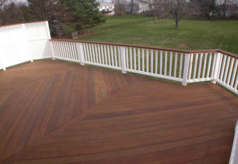 ipe deck with white privacy rails