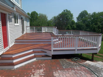 ipe mulit level deck with white fascia and ipe stadium stairs