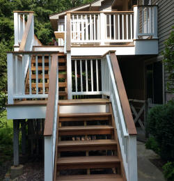 ipe deck stairs with ipe landing vinyl rails custom deck system