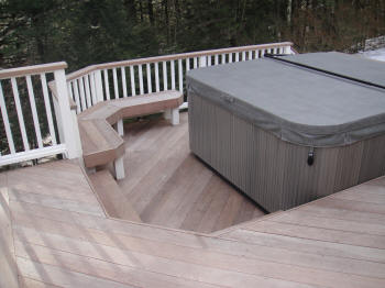 ipe hot tub deck with ipe bench