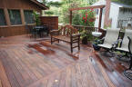large custom ipe deck oiled after powerwash with cabots
