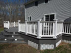 large grey evergrain deck with white king posts