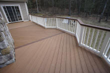 two tone composite deck herrignbone floor pattern white vinyl rails